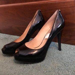 MK black peep toe heels